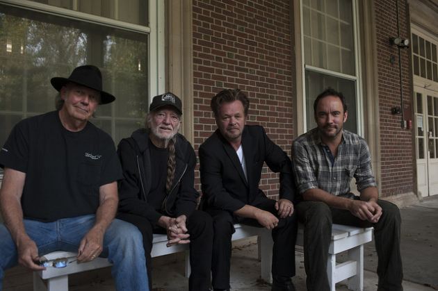 The Farm Aid Four: Neil Young, Willie Nelson, John Mellencamp and Dave Matthews. / Paul Natkin/Photo Reserve, Inc.