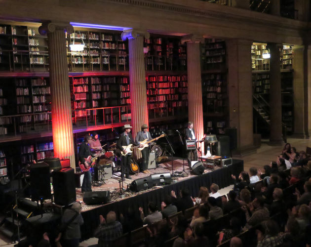 """The high stacks of books softened the acoustics for the """"Real-Phonic Radio"""" shows at St. Paul's James J. Hill Reference Library. / Photos by Jeff Wheeler, Star Tribune"""