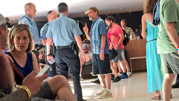 Woody Harrelson talked to Minneapolis' finest wearing marijuana-leaf socks at Walker Art Center in June during Rock the Garden. / Photo by Walt Dizzo