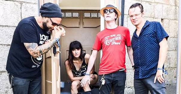 Stinson gets to know his new bandmates: Frank Ferrer (left), Cat Popper (seated) and Luther Dickinson (right). The Hold Steady's Steve Selvidge will play in Dickinson's place on tour next month.