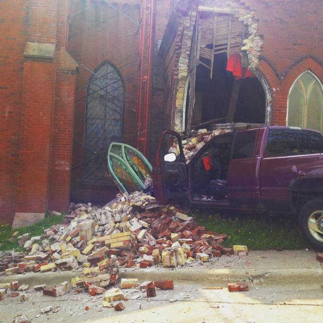 A photo by Duluth musician Mary Bue of Thursday's crash at Sacred Heart Music Center in Duluth.