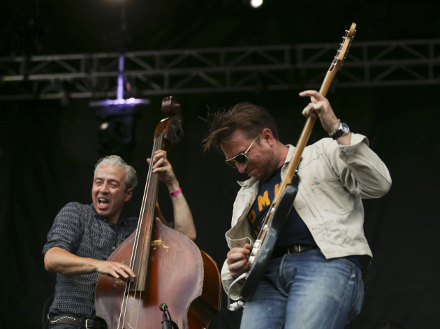 JD McPherson, right, and his bassist Jimmy Sutton were a big hit at Rock the Garden in June outside Walker Art Center. / Jeff Wheeler, Star Tribune