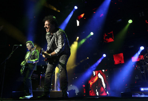 Journey leader Neal Schon, center, and original bassist Ross Valory played Xcel Energy Center in 2011 and many prior years. / Star Tribune file