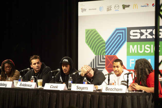 "Brent ""Siddiq"" Sayers, second from right, spoke on a panel celebrating Rhymesayers' 20th anniversary in March at the South by Southwest Music Conference in Austin, Texas. / Tony Nelson for Star Tribune"