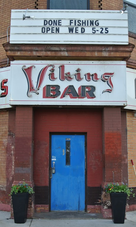 A newly updated sign above the old, familiar entrance of the Viking Bar. / Courtesy Amy Britt