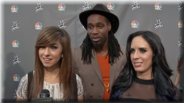 """Christina Grimmie, left, and Kat Perkins with Delvin Choice during promo from """"The Voice's"""" sixth season. / Courtesy NBC"""