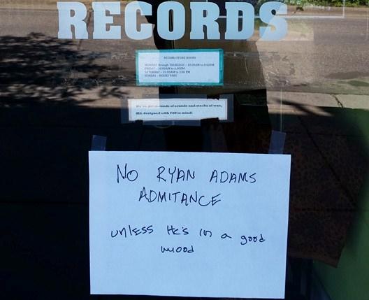 As seen by Ryan Adams himself Saturday in Minneapolis. / Photo by Jon Clifford, Hi-Fi Hair and Records
