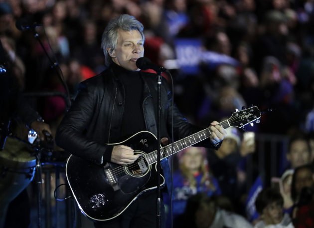 Jon Bon Jovi performed at a Clinton Campaign rally on Nov. 7 in Philadelphia. / AP Photo, Matt Slocum