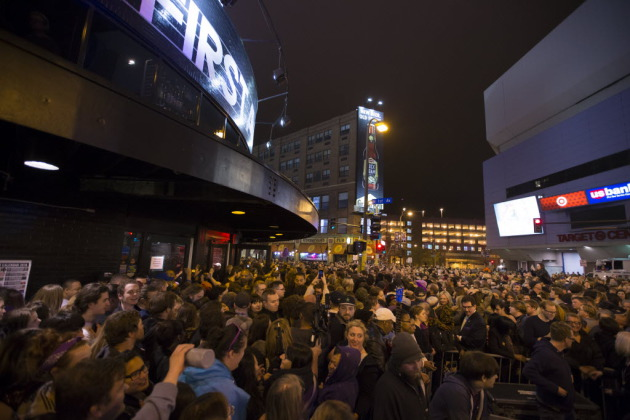 Unlike last year's Prince memorial street party outside First Avenue, this year's bash will be capped at about a 2,500-person capacity. / Renee Jones Schneider, Star Tribune
