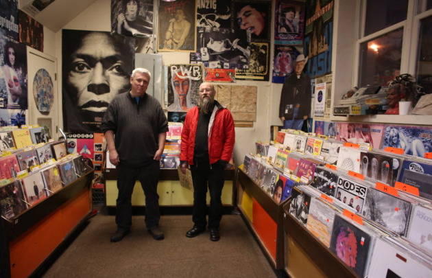 Mark Trehaus, left, has owned Treehouse Records since 2001 and helped musicians such as Paul Metzger issue their own albums via his label Nero's Neptune. / Star Tribune file