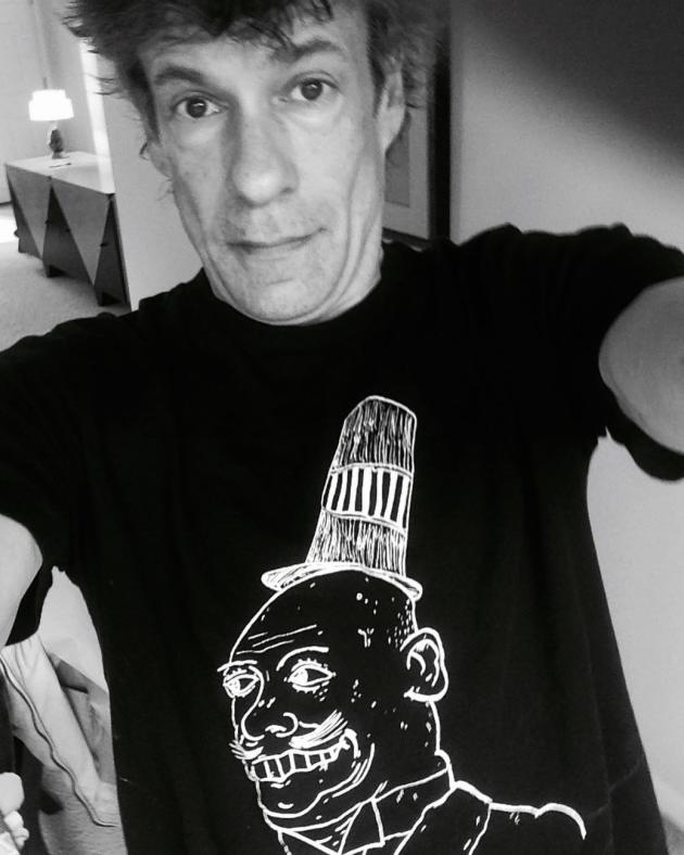 Paul Westerberg recently modeled a T-shirt created by Replacements reunion drummer Josh Freese's son. / From Josh Freese's Instagram