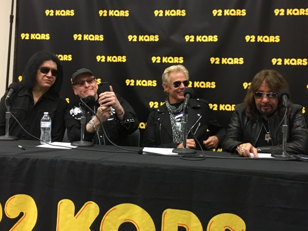 Wednesday morning's session at the KQRS studios featured, from left, Gene Simmons, Rick Nielsen, Don Felder and Ace Frehley.