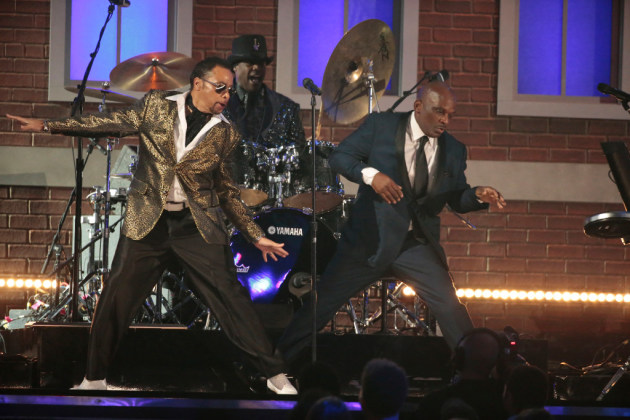 Morris Day & the Time, with drummer Jellybean Johnson and valet Jerome Benton, at the Grammy Awards in February. / Robert Gauthier, Los Angeles Times
