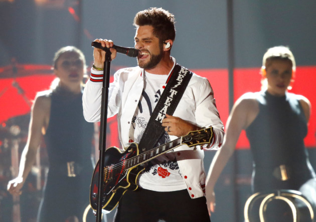 Thomas Rhett sang during the CMT Music Awards in June. / Photo by Wade Payne, Invision/AP