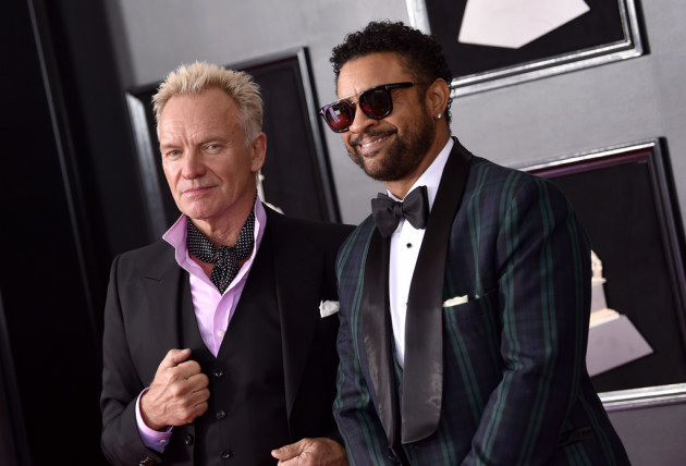 Sting, left, and Shaggy appeared together Sunday at the Grammy Awards in New York. / Evan Agostini, Invision/AP