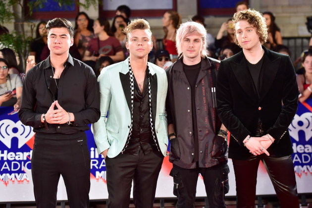 Let's hope 5 Seconds of Summer's members look more thrilled to be at the KDWB Jingle Ball than they did at Toronto's iHeartRadio MMVAs in August. / Frank Gunn, Canadian Press/AP