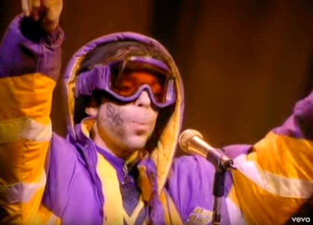 """Prince wasn't exactly at his most glam in the """"Rock and Roll Is Alive"""" video."""