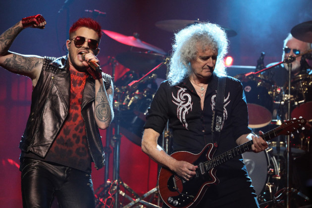 Adam Lambert, left, previously performed with Queen's Brian May and Roger Taylor at Xcel Energy Center in July 2017. / Anthony Souffle, Star Tribune