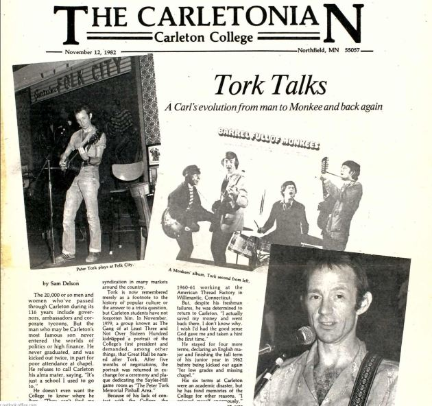 Tork talked about his Carleton years in the school's newspaper in 1982.