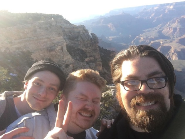 Trevor Engelbrekston, right, celebrated his 37th birthday Monday by taking the two members of the band Her's on a side trip to the Grand Canyon.
