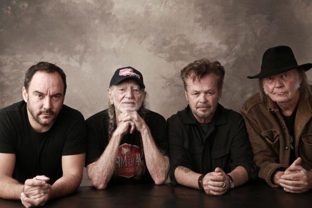 Farm Aid's chairmen of the board: Dave Matthews, Willie Nelson, John Mellencamp and Neil Young. / Marc Houser, FarmAid.org