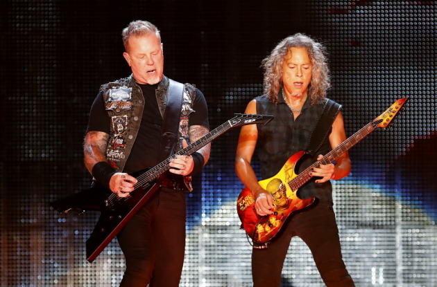 Metallica's James Hetfield, left, and Kirk Hammett at U.S. Bank Stadium in 2016, a sold-out concert where the big turnaround on ticket resale sites was apparently unforgiven. / Carlos Gonzalez, Star Tribune