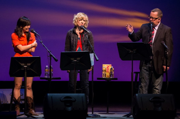 "John Moe with musician Thao Nguyen and comedian Maria Bamford during the original ""Wits"" run. / Courtesy MPR"