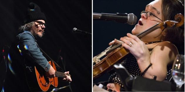 Jeff Tweedy and Gaelynn Lea met up at the Palace Theatre on Sunday. / Anthony Souffle & Leila Navidi, Star Tribune
