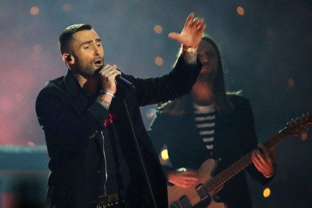 Adam Levine performed with Maroon 5 during this year's Super Bowl in Los Angeles. / Matt Rourke, AP