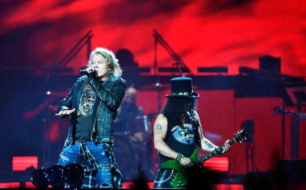 Axl Rose and Slash are asking fans for a little patience. Yeah. Yeah. / Vilhelm Stokstad, TT via AP