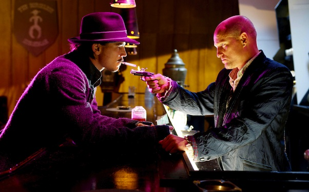 "Josh Hartnett in an old-man hipster hat and Woody Harrelson with a joke shop cigarette lighter, in ""Bunraku."" Photo: ARC Entertainment."