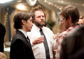 "Justin Long, Tyler Labine, and Ted Koland on the set of ""Lumpy."" Photo: James Ramsay"