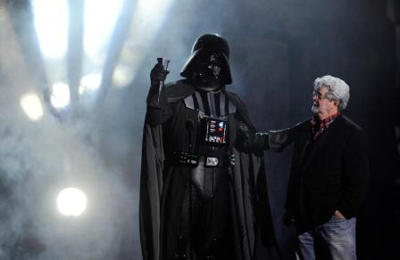 George Lucas and his financial adviser. Photo: Chris Pizzello, AP