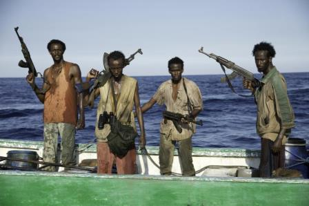 "Faysal Ahmed, Barkhad Abdi, Barkhad Abdirahman, and Mahat Ali in ""Captain Phillips."" (AP Photo/Sony - Columbia Pictures, Jasin Boland)"