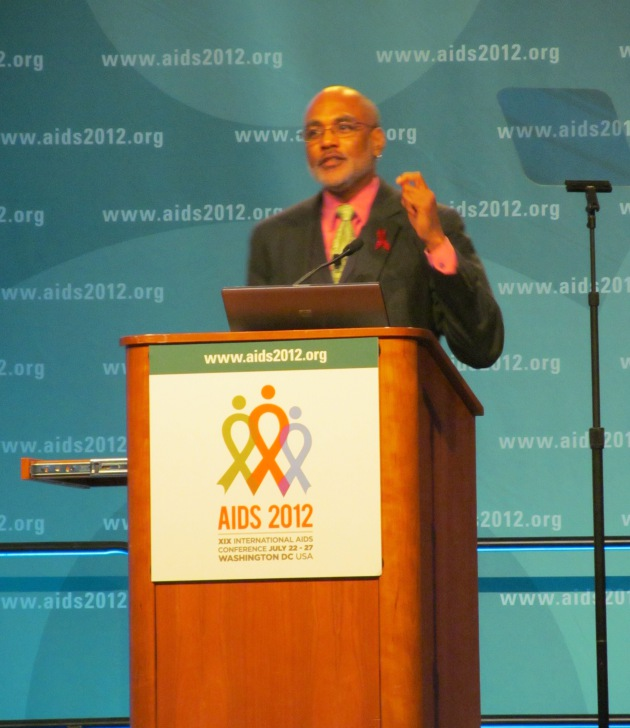 Phill Wilson speaks at the XIX International AIDS Conference Monday. Alvin Tran. 