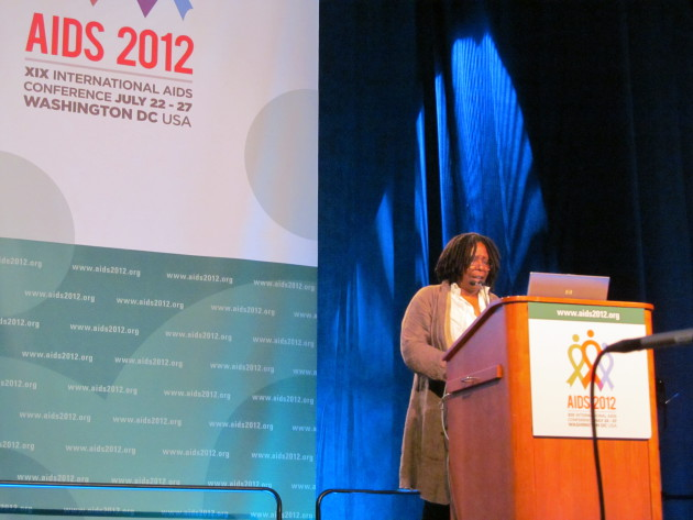Actress Whoopi Goldberg takes the stage at the XIX International AIDS Conference. Alvin Tran.