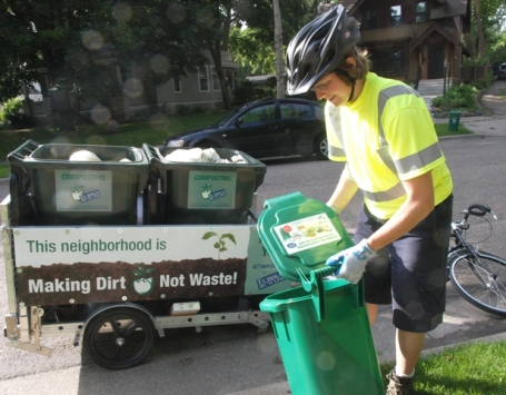 Sonya Ewer, of Eureka Recycling  collects compostables on bicycle