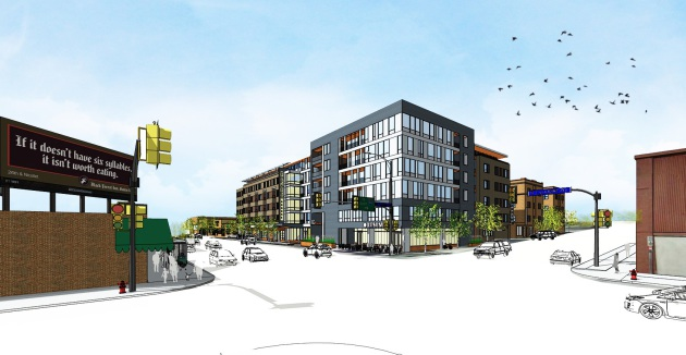 A proposed development at Lyndale and Franklin Avenues, which ran into fierce opposition from the Wedge neighborhood group.
