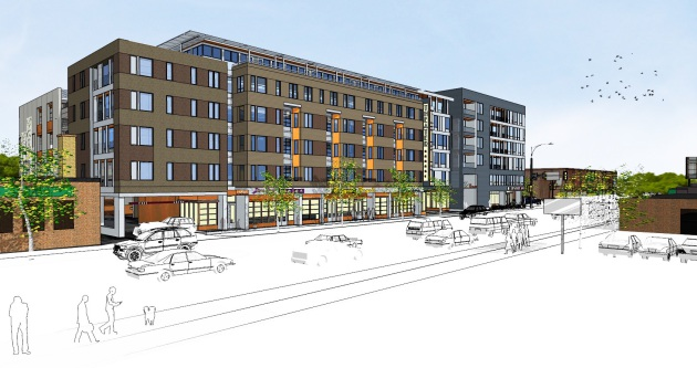 View of the proposal from Lyndale Avenue looking toward Franklin Avenue.
