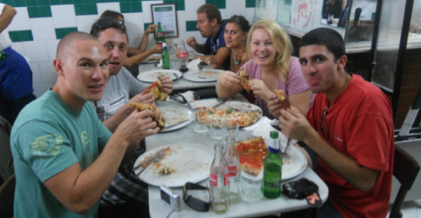 "This picture is with our new Australian friends at Da Michele, the best pizza place in Naples. Julia Roberts ate here in the movie ""Eat, Pray, Love"" too."