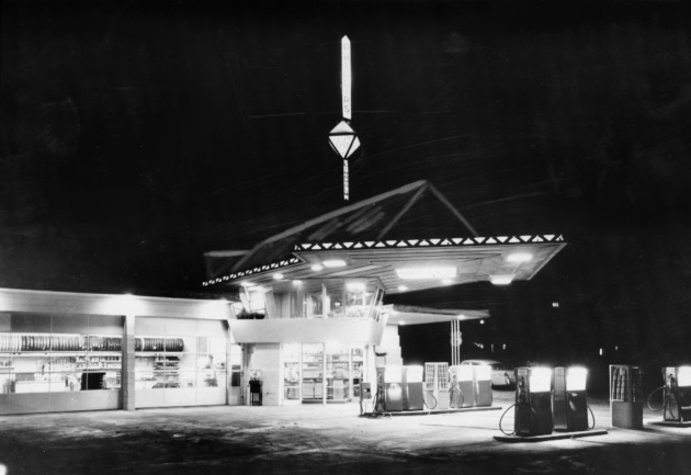 a 1958 Star Tribune file photo of the Frank Lloyd Wright gas station in Cloquet