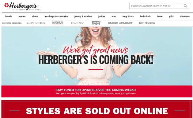 Herberger's stores closed for now?
