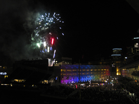 "Twice this summer Target Field blasted off an awesome firework display from the top of the ""B"" Ramp"