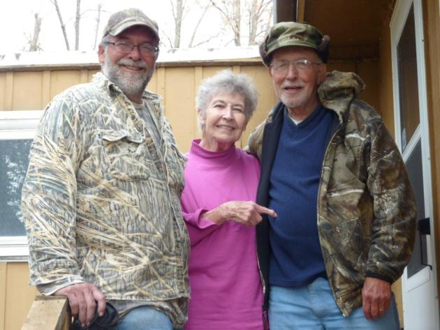Grandpa, his bride of 59 years to the day, and their next door neighbor (their son, Larry, bought the lot next to theirs so they'd have side-by-side cabins).