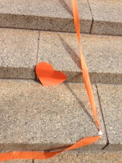 Hearts were pasted on the Capitol's stone steps to greet Senators voting &quot;Yes&quot; Monday