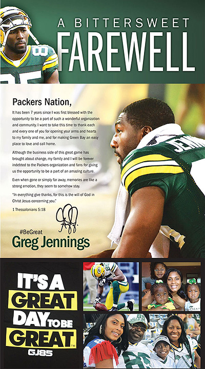 Greg Jennings bids classy farewell to Packers fans