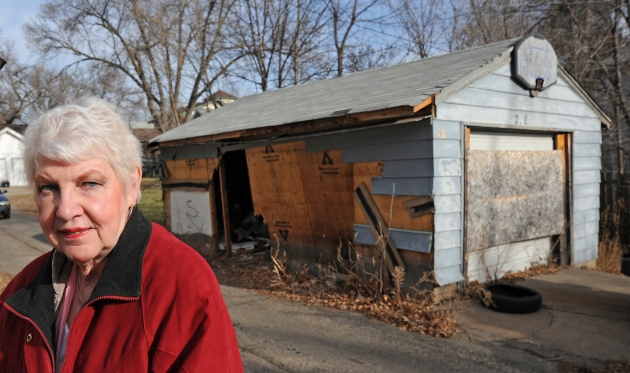Garage BEFORE, with neighbor Mary Rice
