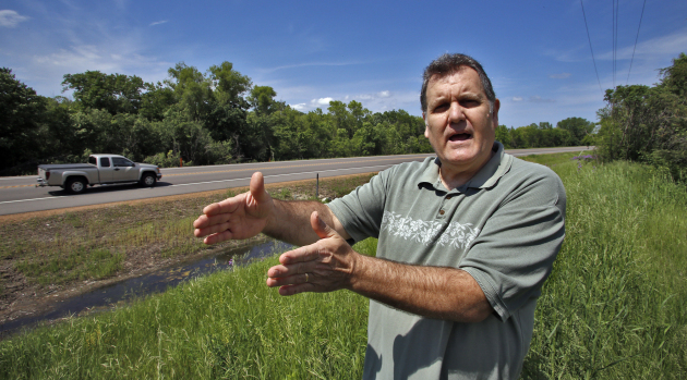 Ron Featherston talks about the rumble strips recently installed on Hwy. 5 in Victoria, Minn.
