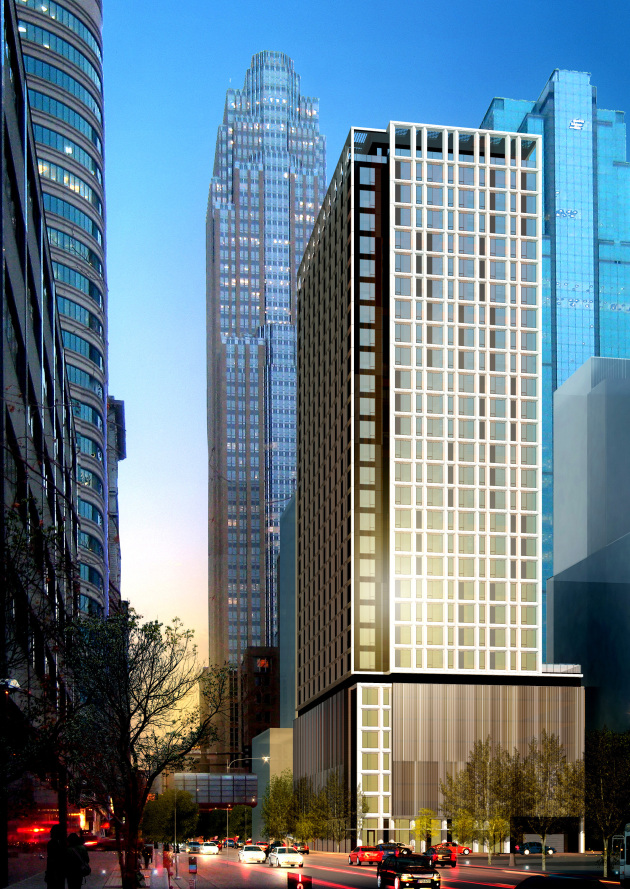 The proposed apartment tower by Mortenson Development at 5th and Marquette