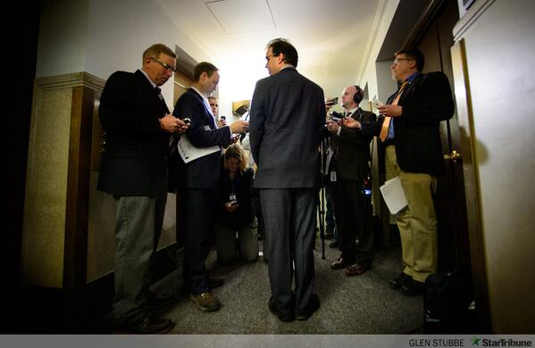 Rep. Pat Garofalo faces the cameras to apologize for an insulting tweet. Star Tribune photo by Glen Stubbe.